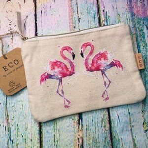 Watercolor Flamingo MakeUp Bag ECO Recycled Cotton